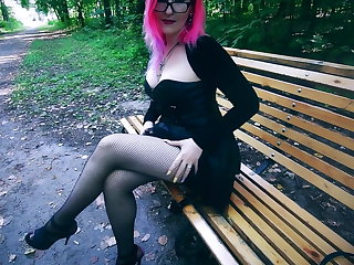 Gothic Goth girl in corset and heels risky public facial cum