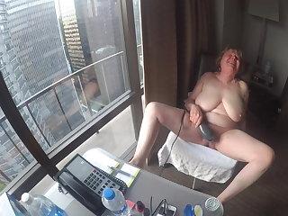 Flashing Mature hotel window exhibitionist cumming so hard