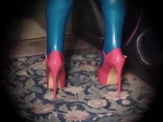 Latex Plugged In Pink Pumps