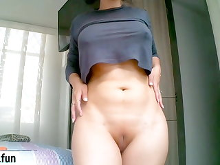 Titty Fucking Huge Booty Milf masturbates on camera