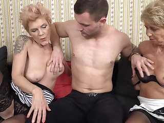 Grannies Two grannies having sex with young boy