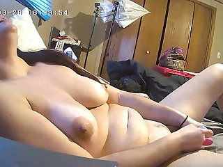 Lingerie Milf Plows Her Fat Pink Pussy Hard and Loud, Hidden Cam