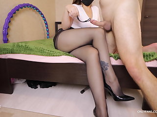 Foot Fetish Stepbrother asked for help to cum on stepsister's pantyhose
