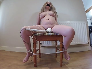 Sybian wife gagged and Tied to chair – vibrator