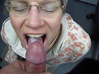 Grannies granny swallows cum like a good slut