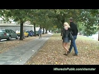 Blondes horny couple fucks in public